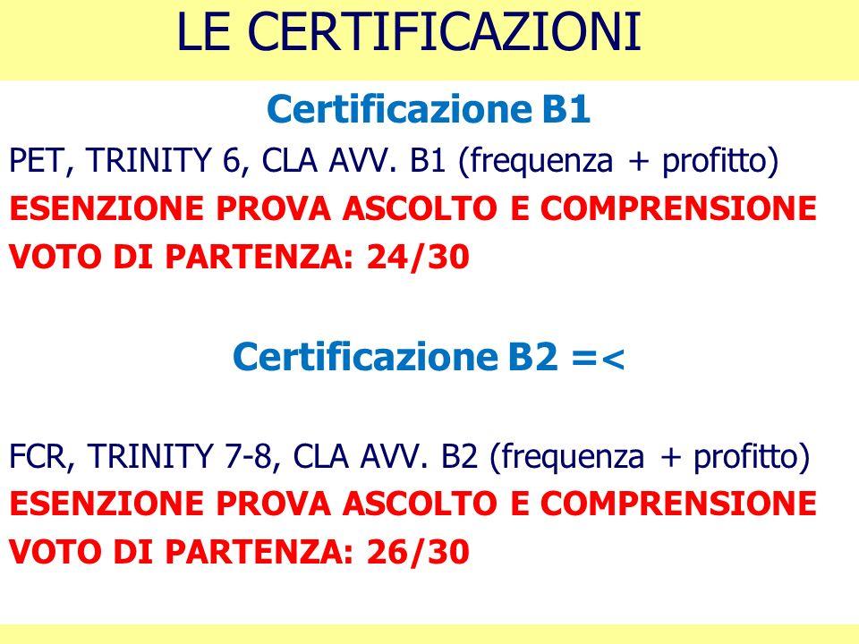 Certificazione B2 =<