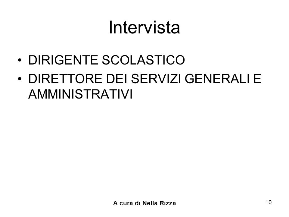 Intervista DIRIGENTE SCOLASTICO
