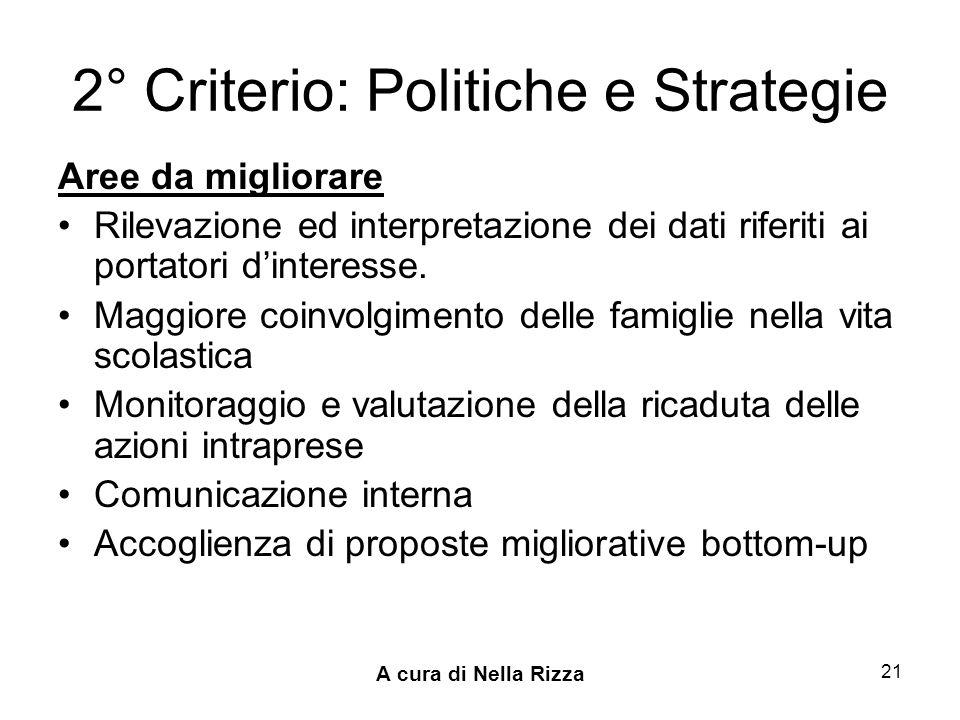 2° Criterio: Politiche e Strategie