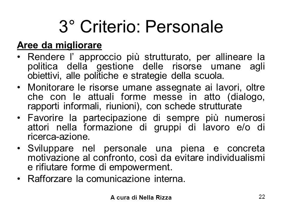 3° Criterio: Personale Aree da migliorare