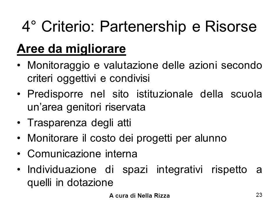 4° Criterio: Partenership e Risorse