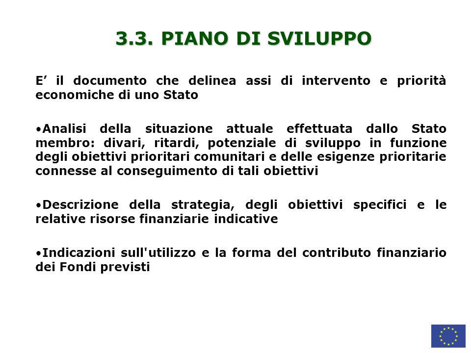 3.3. PIANO DI SVILUPPO E' il documento che delinea assi di intervento e priorità economiche di uno Stato.