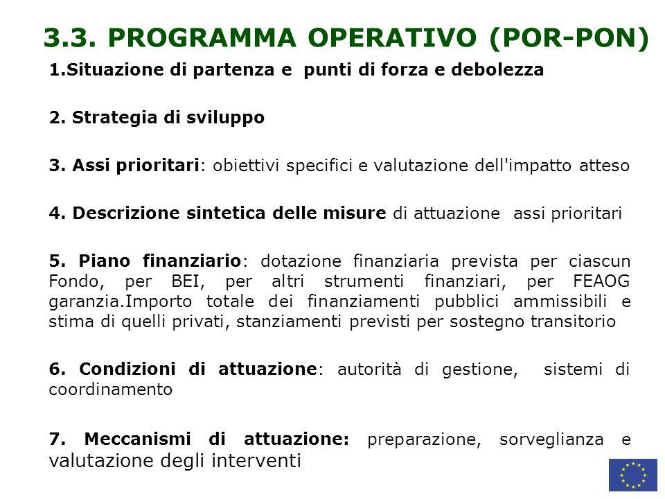 3.3. PROGRAMMA OPERATIVO (POR-PON)