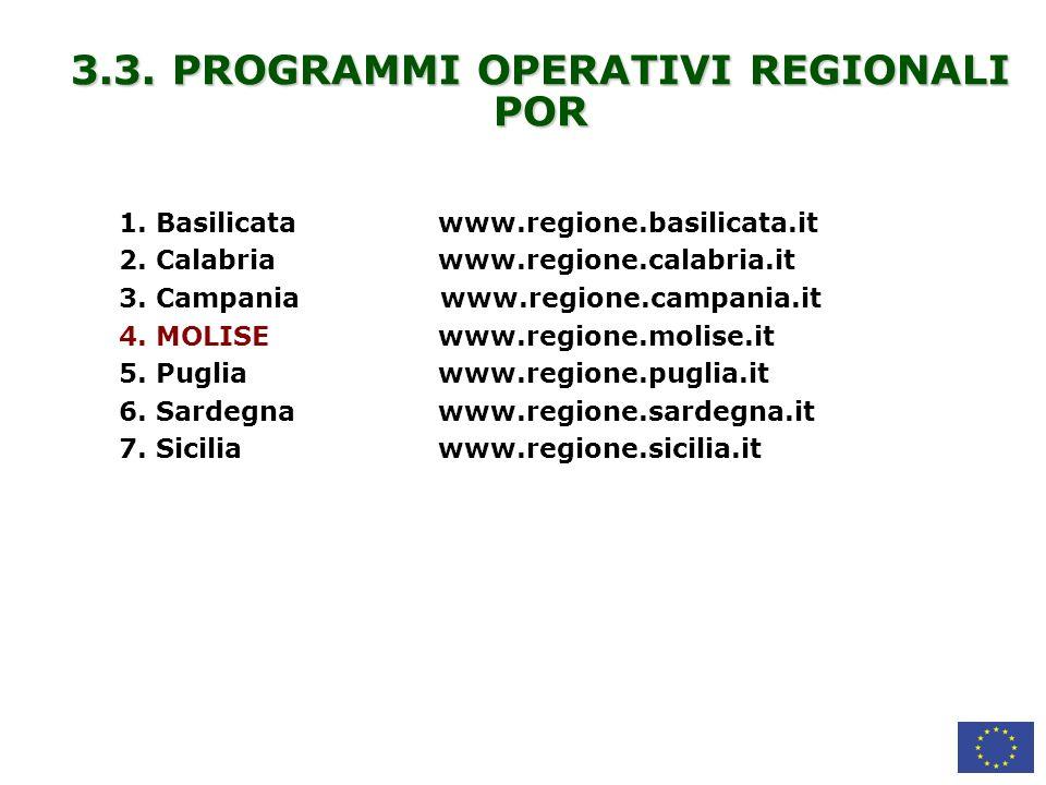 3.3. PROGRAMMI OPERATIVI REGIONALI