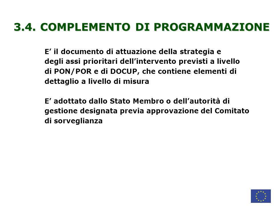 3.4. COMPLEMENTO DI PROGRAMMAZIONE
