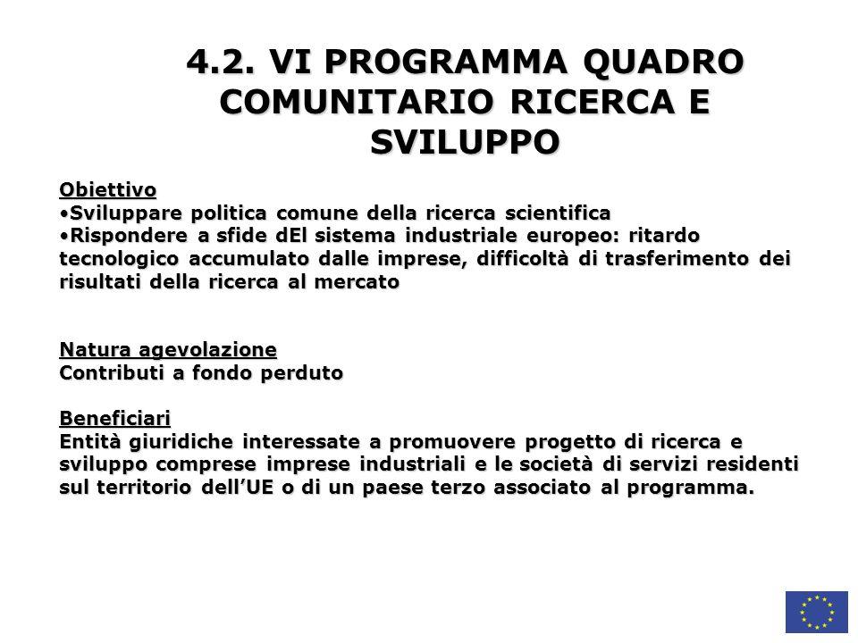 4.2. VI PROGRAMMA QUADRO COMUNITARIO RICERCA E SVILUPPO
