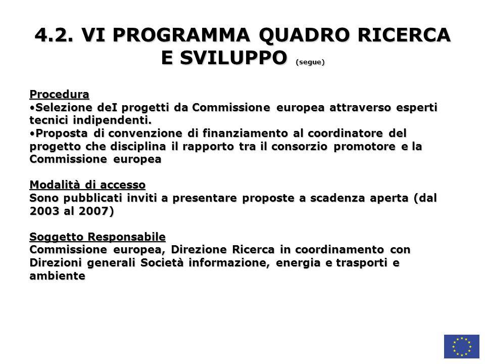 4.2. VI PROGRAMMA QUADRO RICERCA E SVILUPPO (segue)