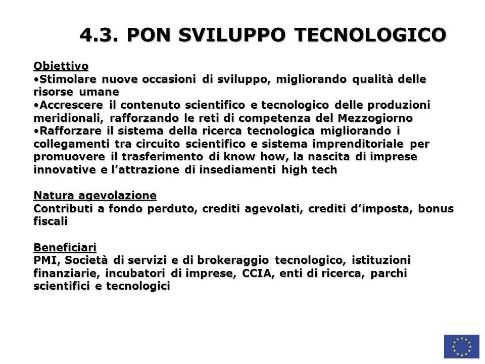 4.3. PON SVILUPPO TECNOLOGICO