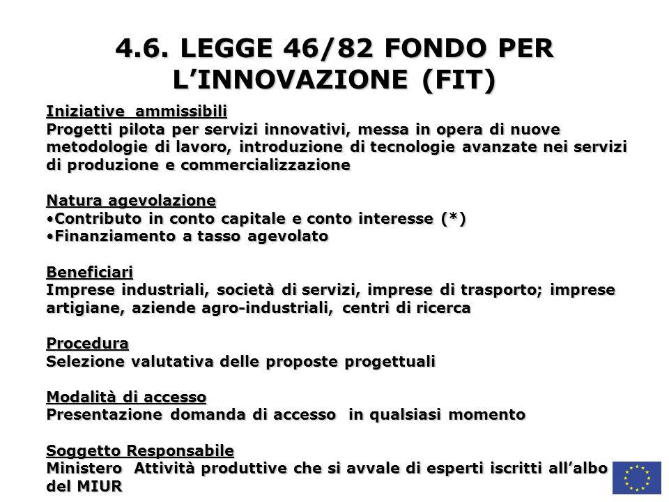 4.6. LEGGE 46/82 FONDO PER L'INNOVAZIONE (FIT)