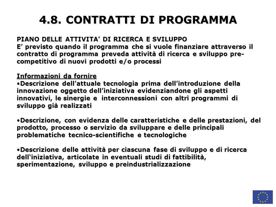 4.8. CONTRATTI DI PROGRAMMA