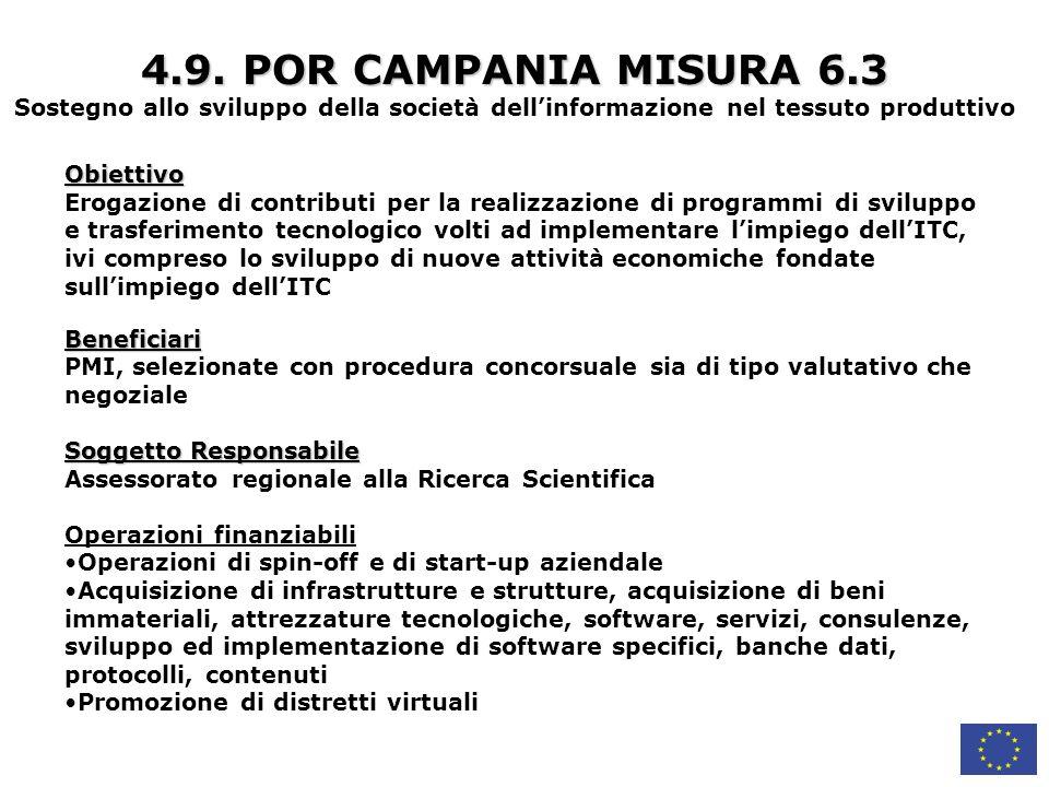 4.9. POR CAMPANIA MISURA 6.3 Sostegno allo sviluppo della società dell'informazione nel tessuto produttivo.