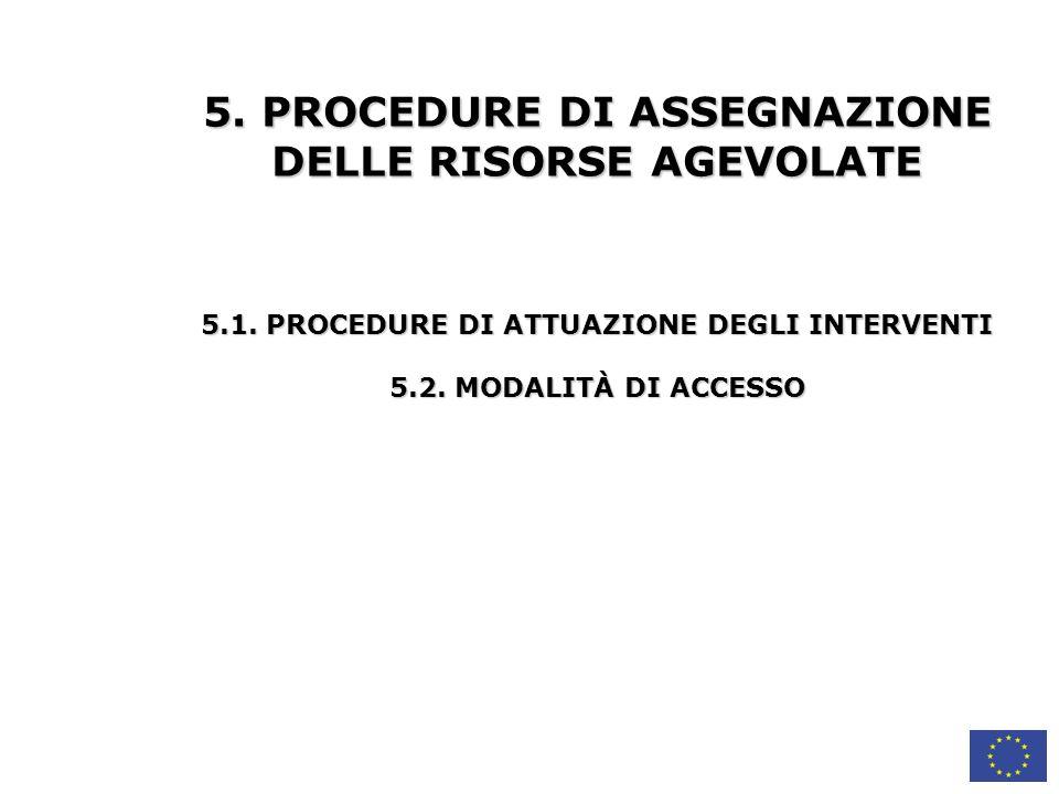 5. PROCEDURE DI ASSEGNAZIONE DELLE RISORSE AGEVOLATE
