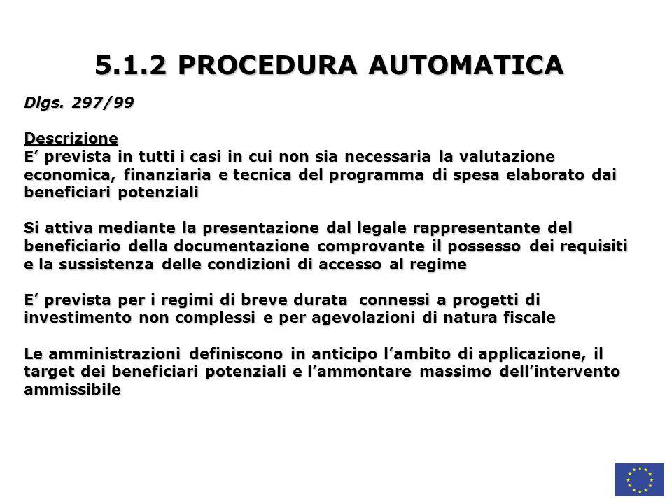 5.1.2 PROCEDURA AUTOMATICA Dlgs. 297/99 Descrizione
