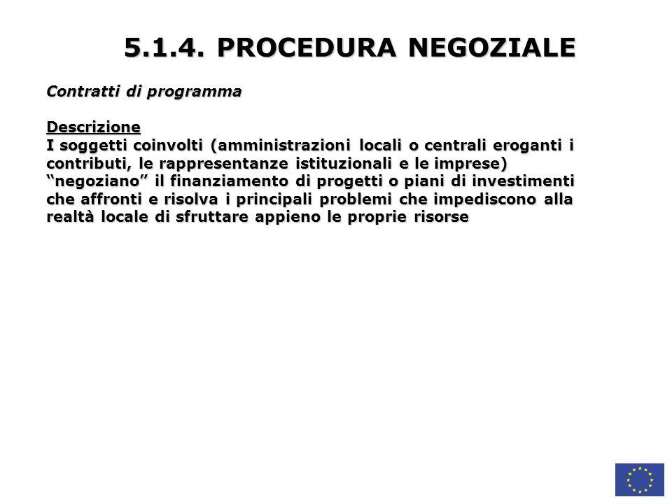 5.1.4. PROCEDURA NEGOZIALE Contratti di programma Descrizione
