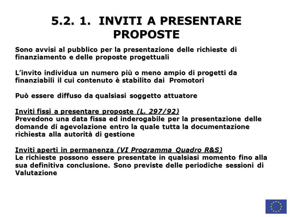 5.2. 1. INVITI A PRESENTARE PROPOSTE