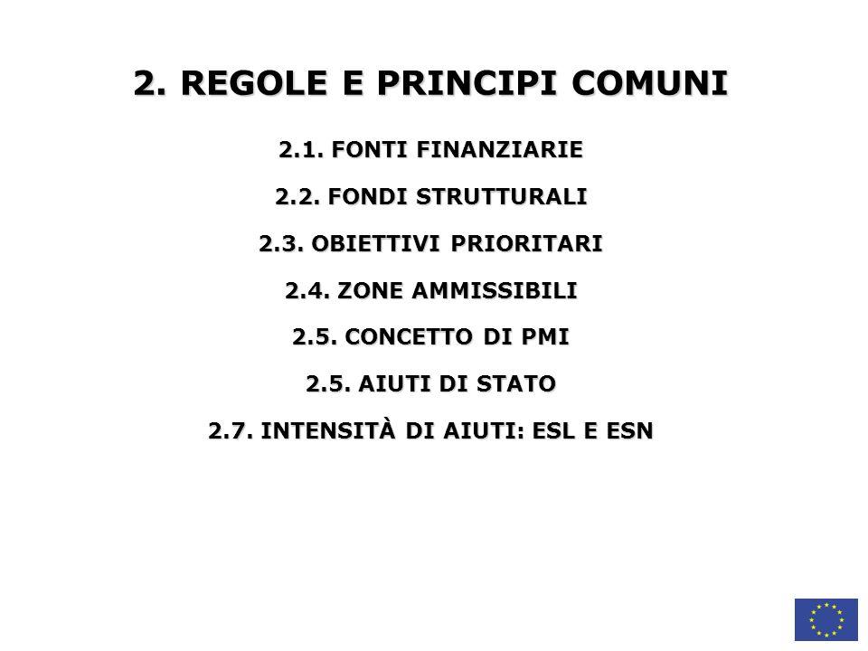 2. REGOLE E PRINCIPI COMUNI 2.7. INTENSITÀ DI AIUTI: ESL E ESN