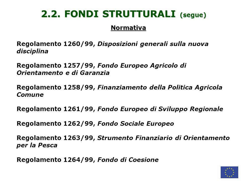 2.2. FONDI STRUTTURALI (segue)