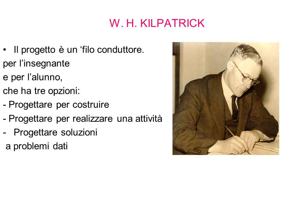 W. H. KILPATRICK Il progetto è un 'filo conduttore. per l'insegnante
