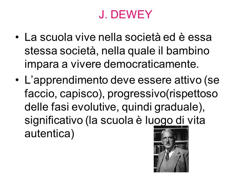 J. DEWEY La scuola vive nella società ed è essa stessa società, nella quale il bambino impara a vivere democraticamente.