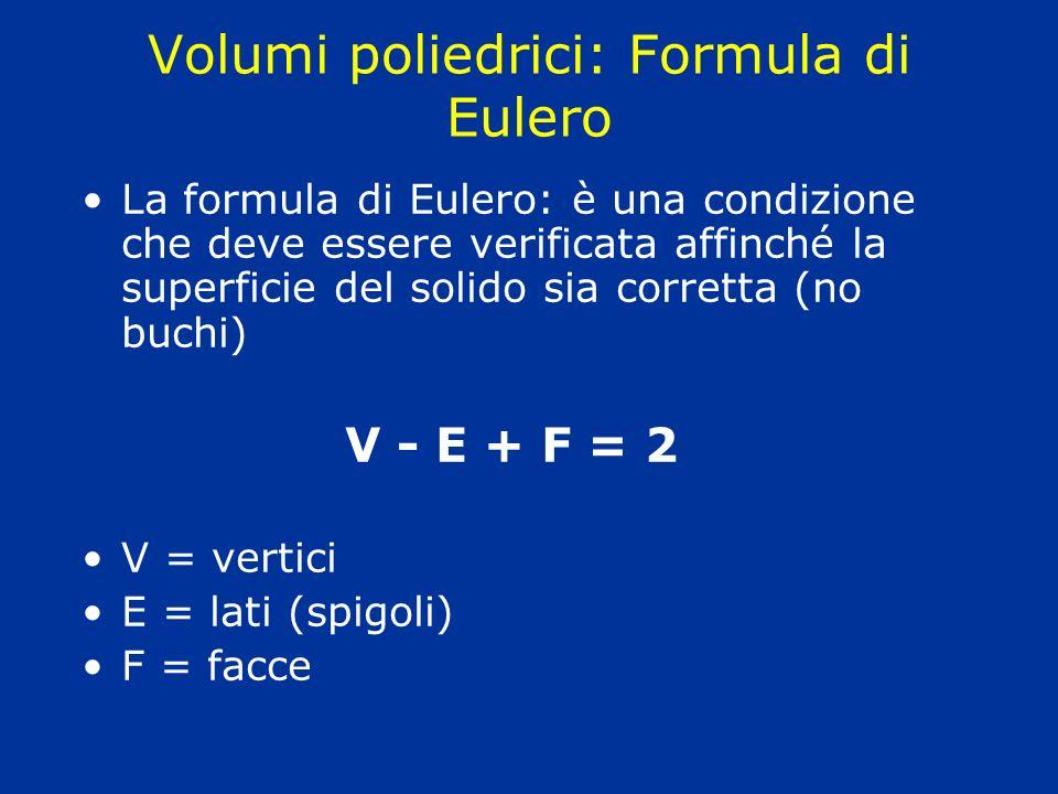 Volumi poliedrici: Formula di Eulero