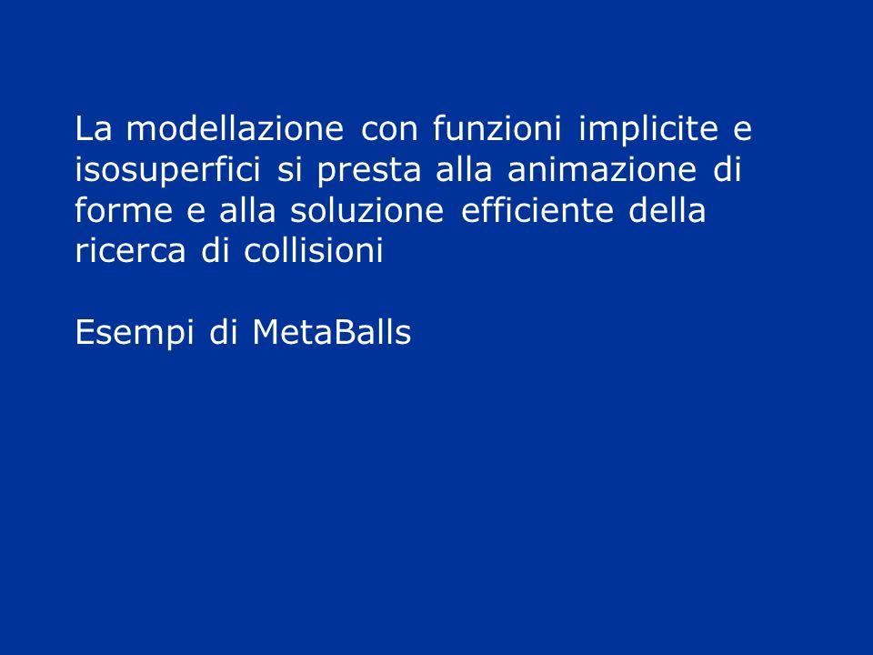 La modellazione con funzioni implicite e isosuperfici si presta alla animazione di forme e alla soluzione efficiente della ricerca di collisioni