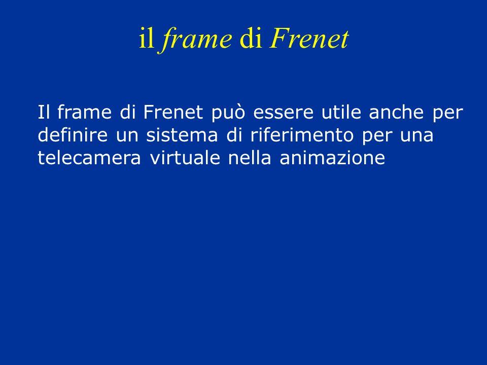 il frame di Frenet Il frame di Frenet può essere utile anche per definire un sistema di riferimento per una telecamera virtuale nella animazione.