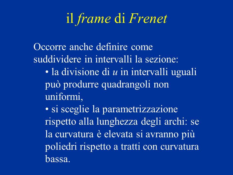 il frame di Frenet Occorre anche definire come suddividere in intervalli la sezione: