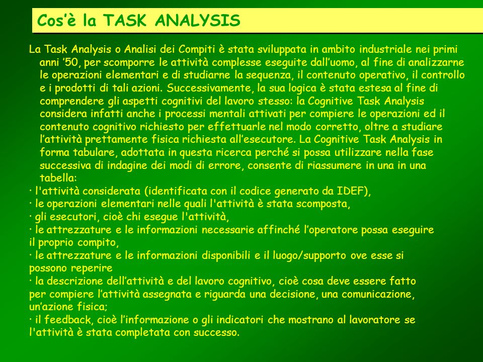 Cos'è la TASK ANALYSIS