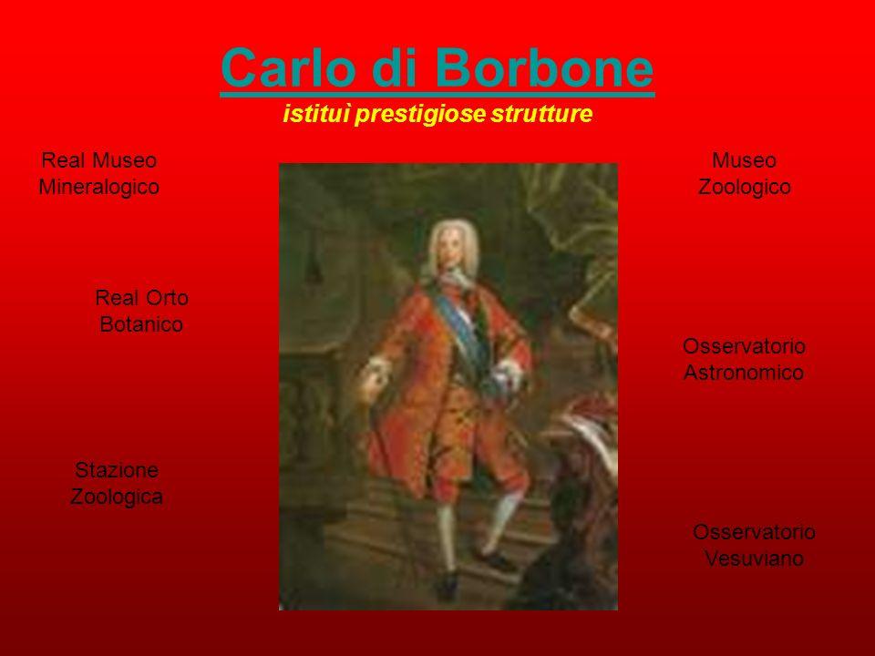 Carlo di Borbone istituì prestigiose strutture