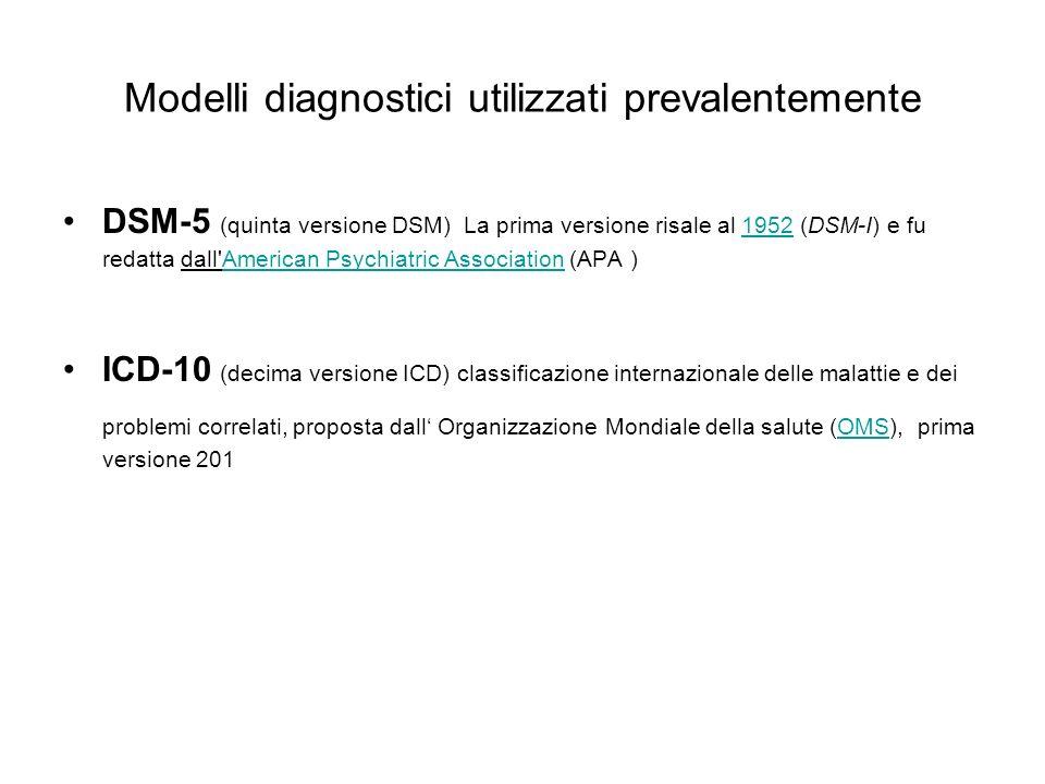 Modelli diagnostici utilizzati prevalentemente