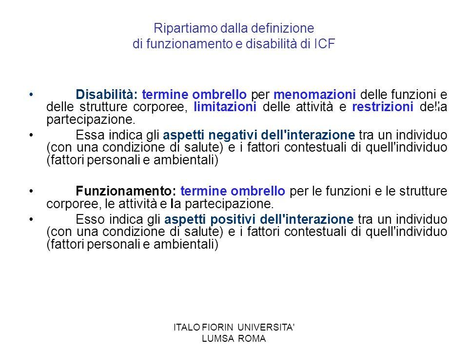 Ripartiamo dalla definizione di funzionamento e disabilità di ICF