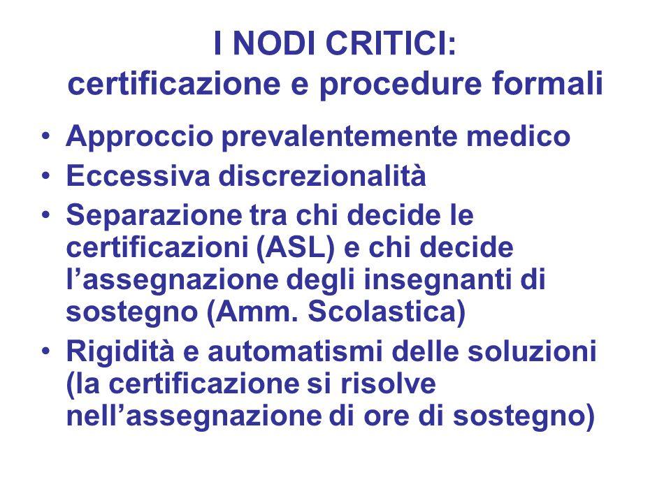 I NODI CRITICI: certificazione e procedure formali
