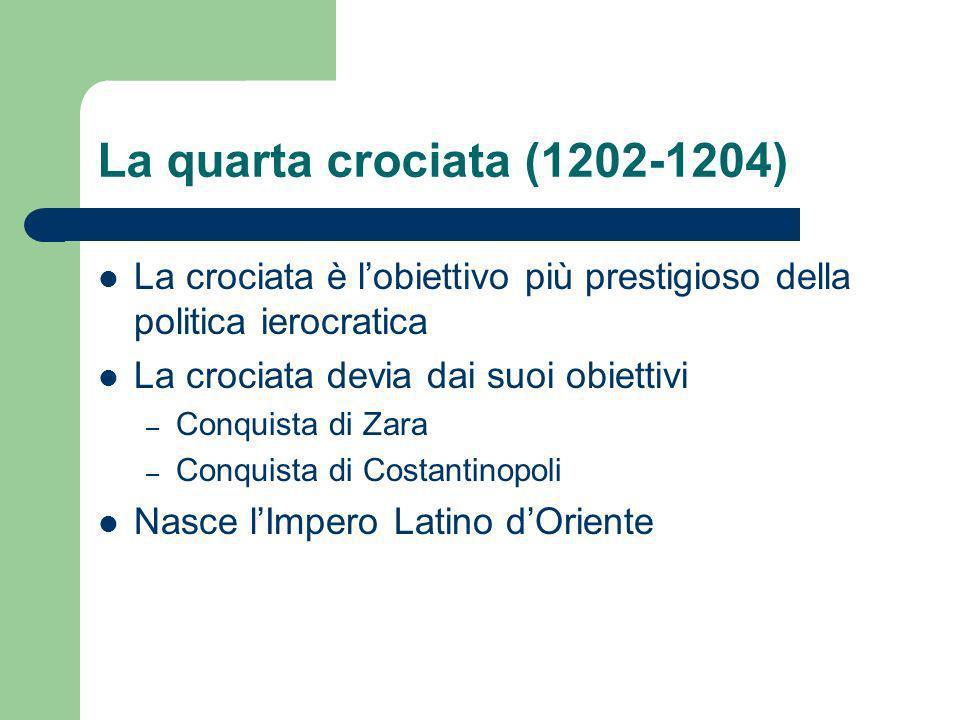 La quarta crociata (1202-1204) La crociata è l'obiettivo più prestigioso della politica ierocratica.