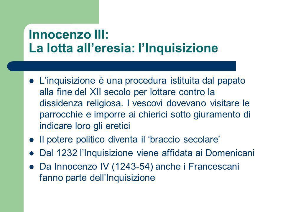 Innocenzo III: La lotta all'eresia: l'Inquisizione