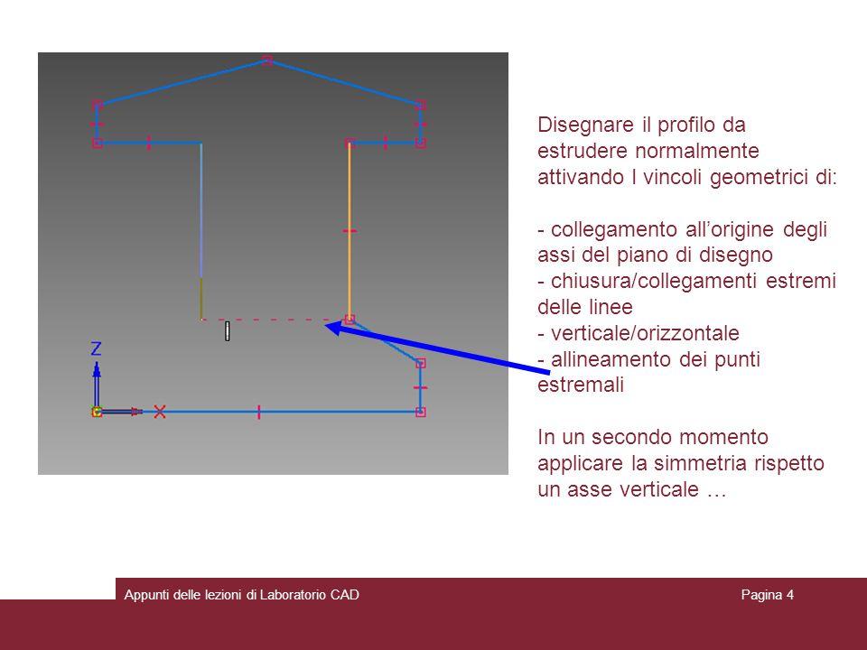 - collegamento all'origine degli assi del piano di disegno