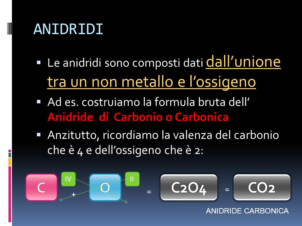 ANIDRIDI Le anidridi sono composti dati dall'unione tra un non metallo e l'ossigeno.