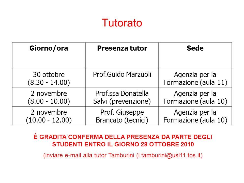 Tutorato Giorno/ora Presenza tutor Sede 30 ottobre (8.30 - 14.00)