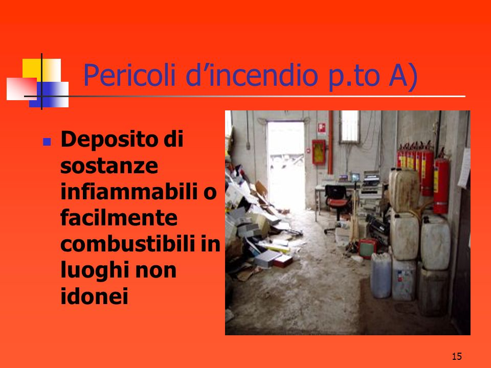 Pericoli d'incendio p.to A)