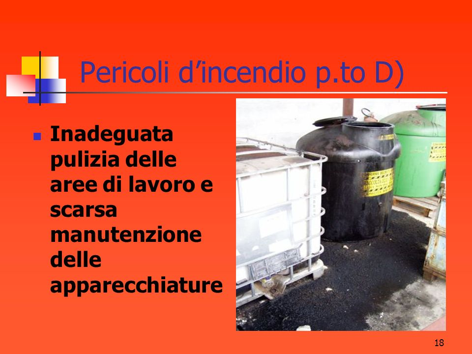 Pericoli d'incendio p.to D)