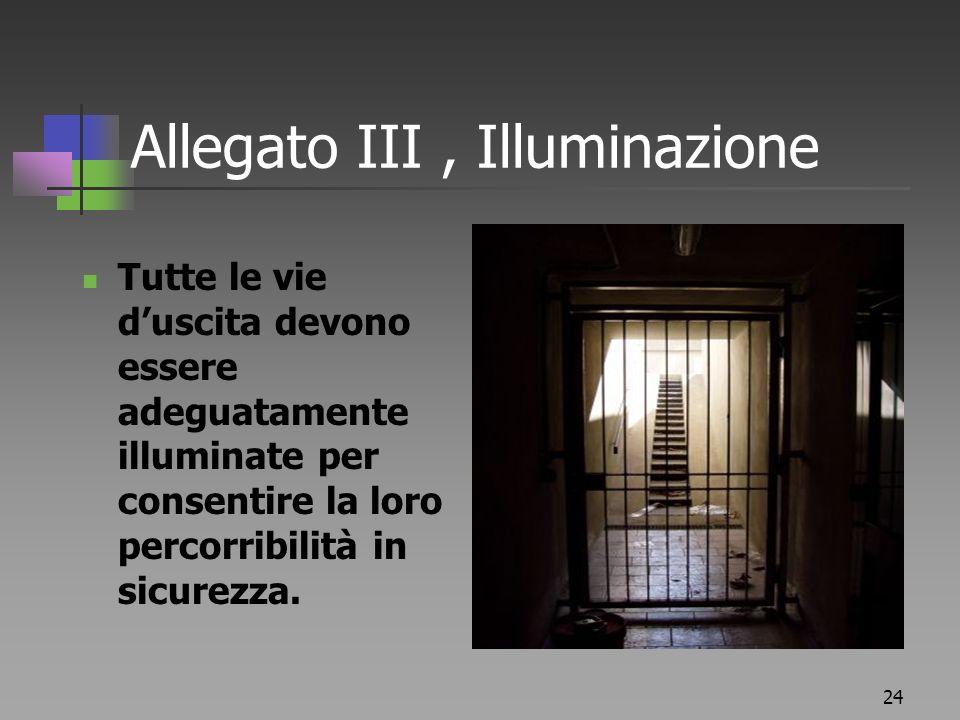 Allegato III , Illuminazione