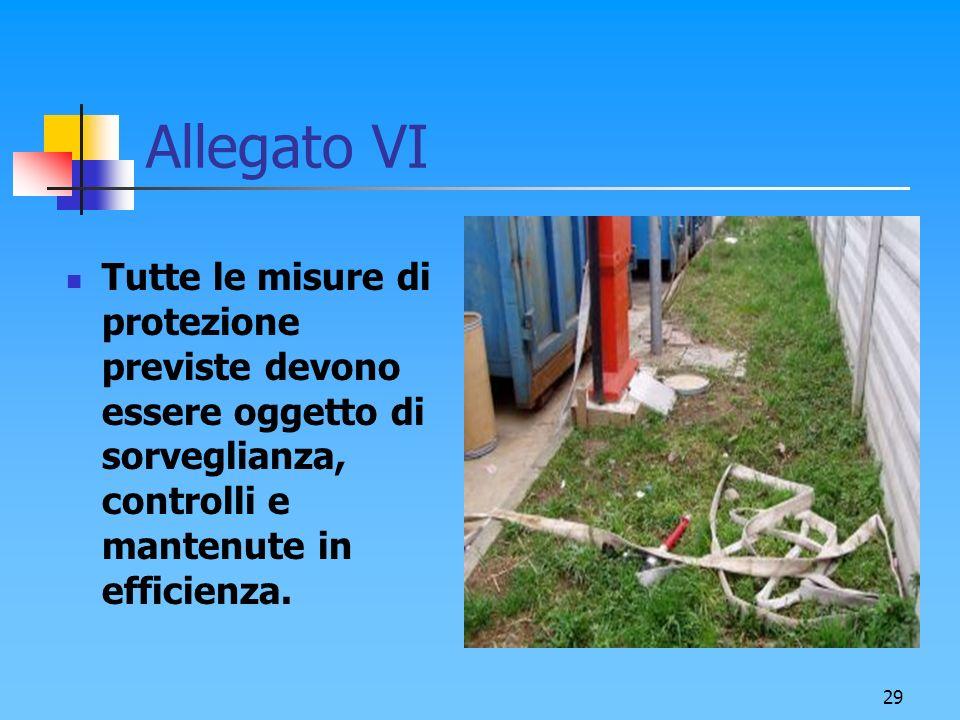 Allegato VI Tutte le misure di protezione previste devono essere oggetto di sorveglianza, controlli e mantenute in efficienza.