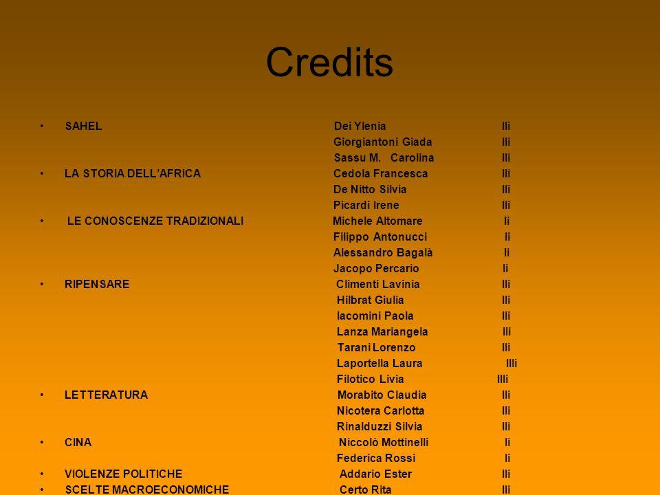 Credits SAHEL Dei Ylenia IIi Giorgiantoni Giada IIi