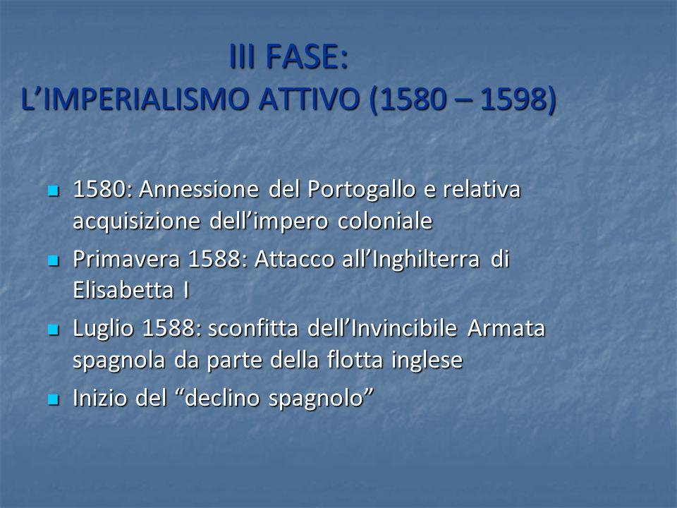 III FASE: L'IMPERIALISMO ATTIVO (1580 – 1598)