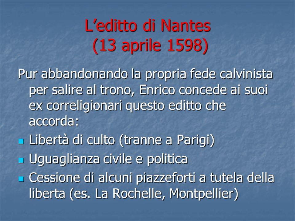 L'editto di Nantes (13 aprile 1598)