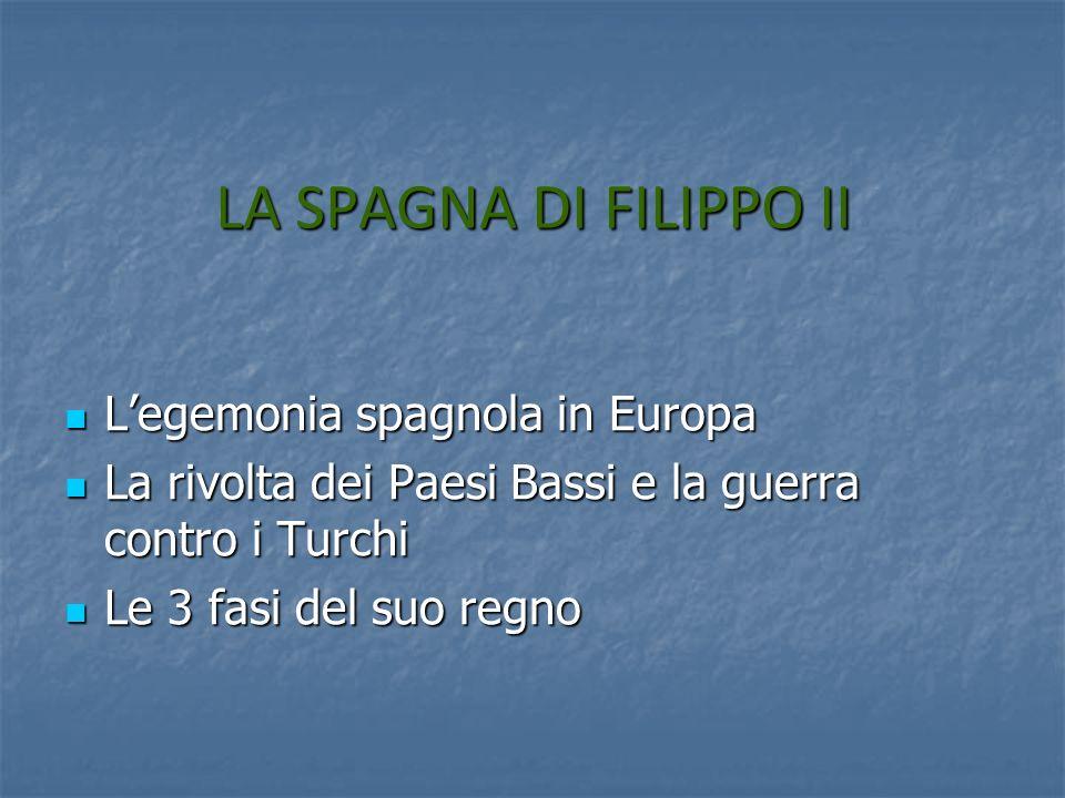 LA SPAGNA DI FILIPPO II L'egemonia spagnola in Europa
