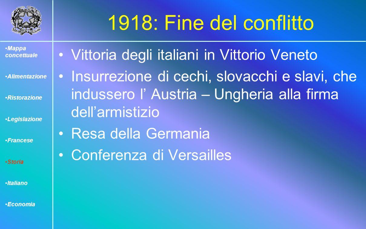 1918: Fine del conflitto Vittoria degli italiani in Vittorio Veneto