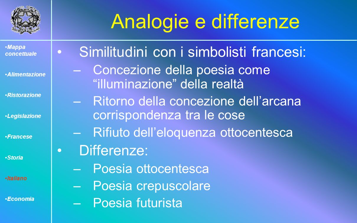 Analogie e differenze Similitudini con i simbolisti francesi: