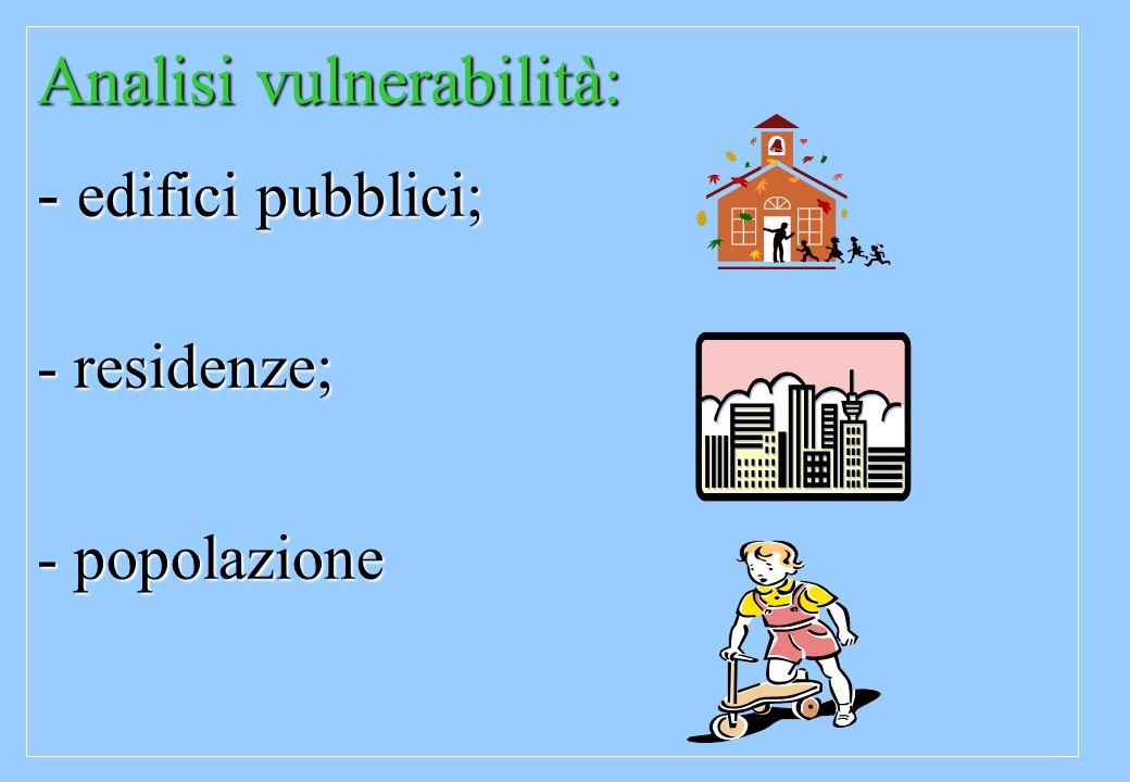 Analisi vulnerabilità: - edifici pubblici;