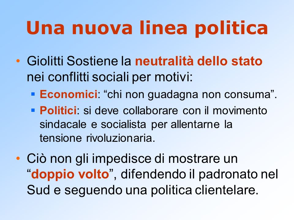 Una nuova linea politica