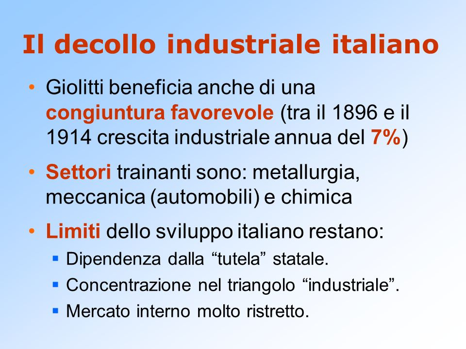 Il decollo industriale italiano